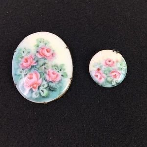 2 Vtg Hand-Painted Roses Porcelain Brooch Pin